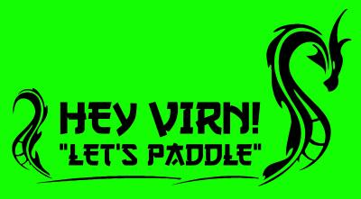 """Graphic of Hey VIRN! """"Let's Paddle"""" Logo in bright green with black text and a dragon on each side of the text."""