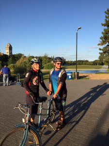Photo of Michael and Bill getting ready to ride the tandem for a beautiful evening ride.