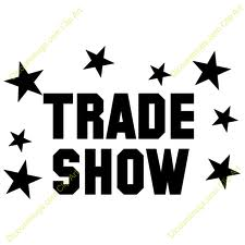 Graphic of trade show text in black with black stars around the text on white background.