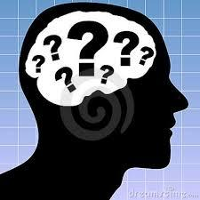 Graphic of Silhouette highlighting the brain with lots of question marks.