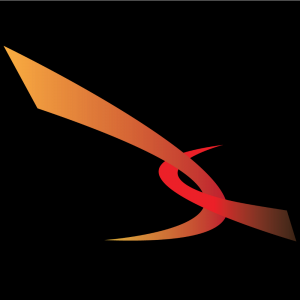 Graphic of Fiery coloured swooshes on black background that is a part of VIRN's logo.