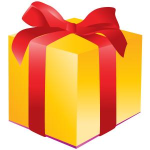 Graphic of yellow giftbox with a red bow.