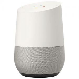 A photo of the Google Home device that has a black base, grey on the bottom half and white on top.
