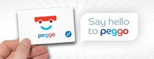 Photo of Say hello to peggo! with fingers holding the peggo smart card that is white with a colourful smiley face with and coulourful letters peggo under
